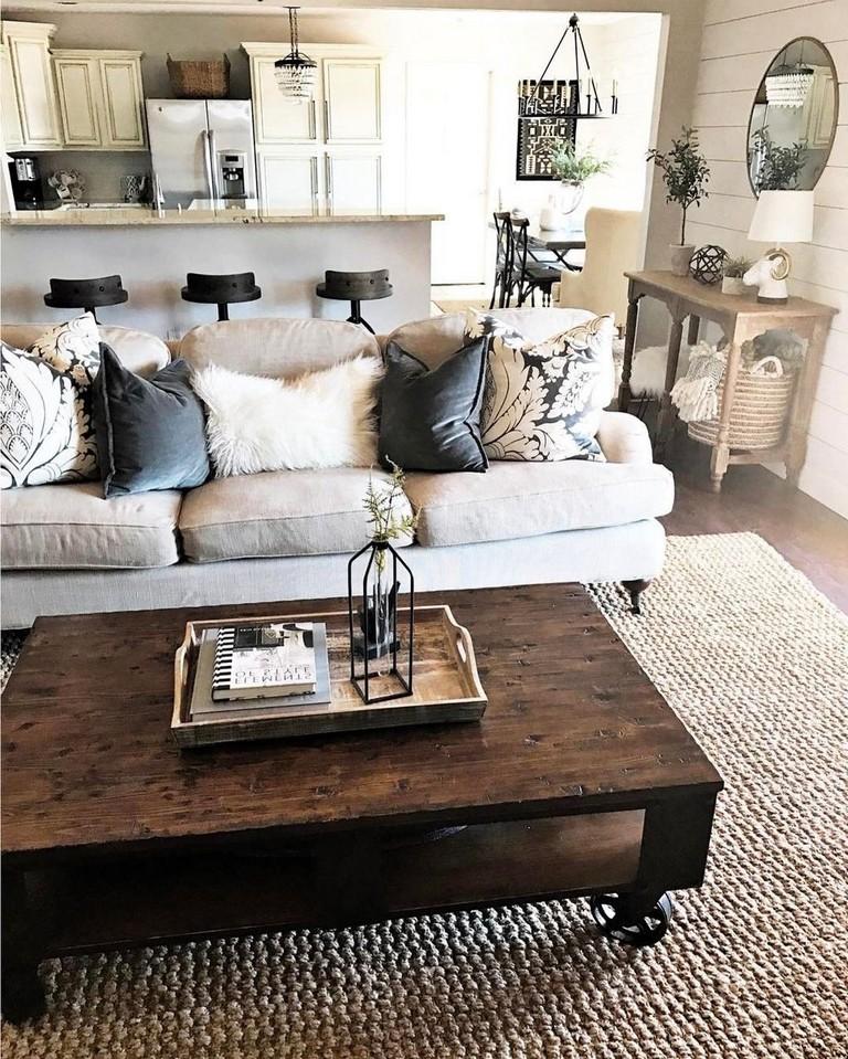 30 Lovely Rustic Farmhouse Living Room Design Ideas