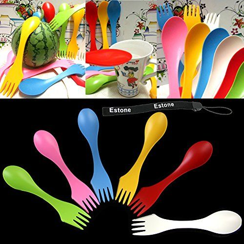 Estone® 6Pcs Travel Utensils Spoon Fork Knife Cutlery Camping Outdoors Spork Combo Set for $4.79. Great for OCC boxes. at Amazon.com