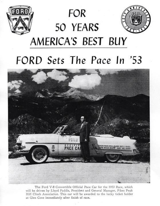Ford Was The Pace Car For 1953 Pikes Peak Hill Climb Race