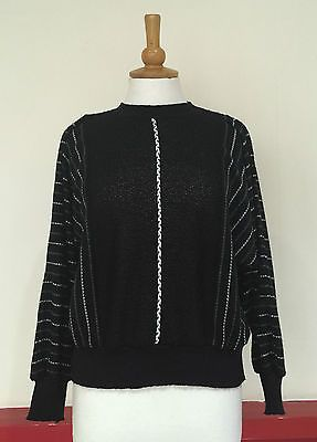 Vintage jumper 1980s #black #grunge knitted winter #oversized sweater fits 10 12 ,  View more on the LINK: http://www.zeppy.io/product/gb/2/131633439904/