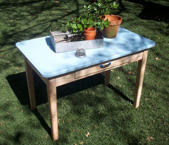 Vintage Enamel Top Kitchen Table: Vintage Enamel Top Table / Farm Table / Laundry Table