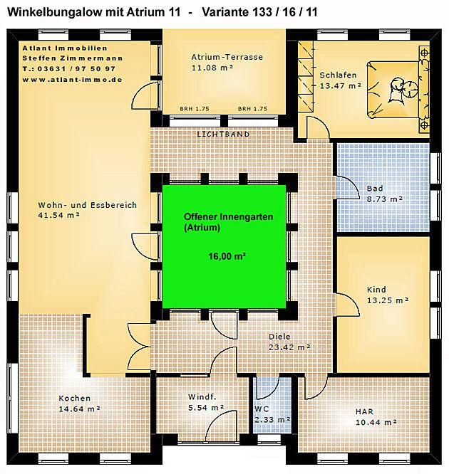 Atrium 11 winkelbungalow 133 16 11 einfamilienhaus neubau for Atriumhaus bauen