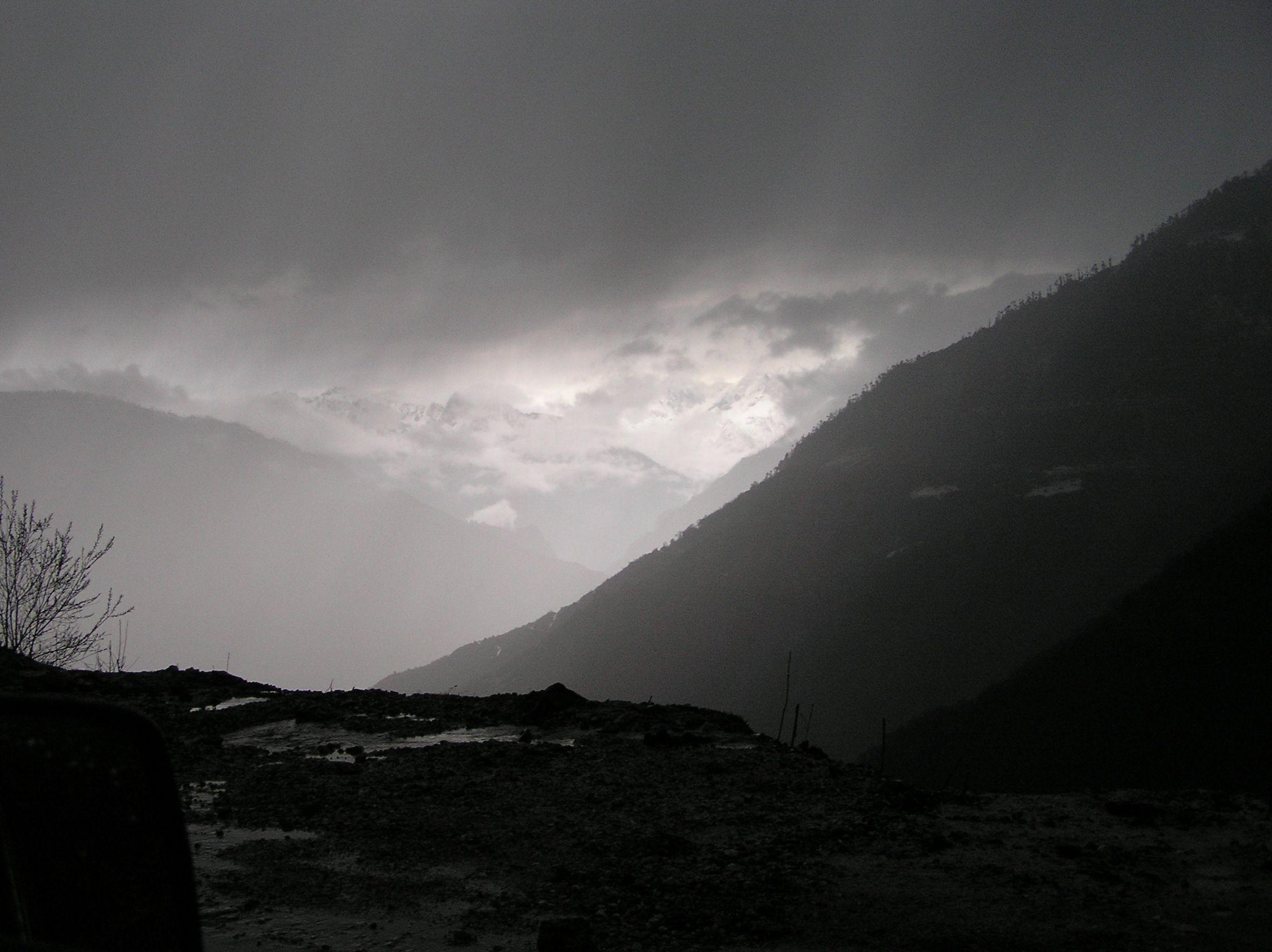 The mountain road leading to Tawang at nightfall. The