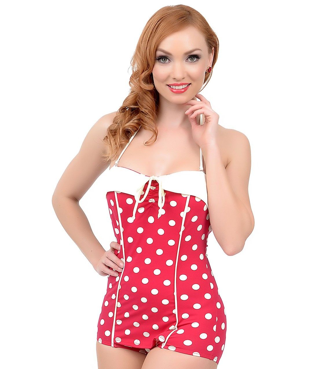 4ef788b173b38 Vintage 1950s Style Pin-Up Red   White Dot Bandeau One Piece Swimsuit at Unique  Vintage  retroinspired  bettiepage  bettiepageclothing ...