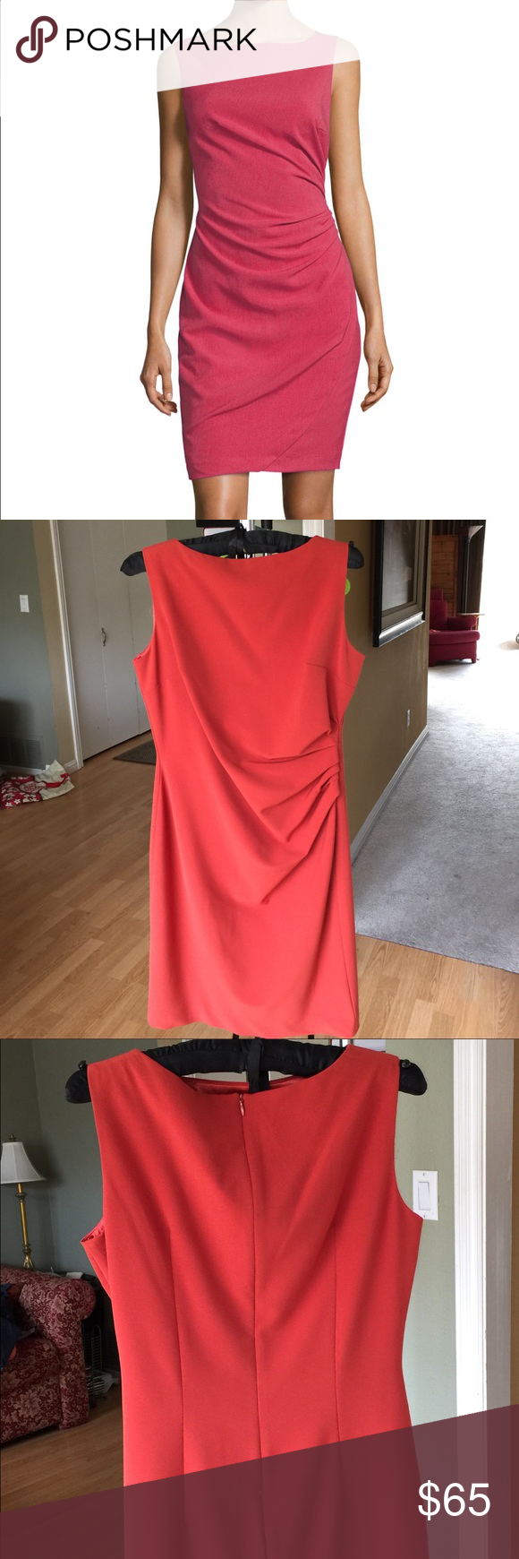 Ava & Aiden Side Pleated Sheath Dress Be the lady in red!! Gorgeous, sexy yet classy dress! Fully lined, side pleating with a bit of a stretch for a figure flattering fit.  18 inches across bust laying flat, 36 inches long from shoulder to bottom. Excellent condition Ava & Aiden Dresses