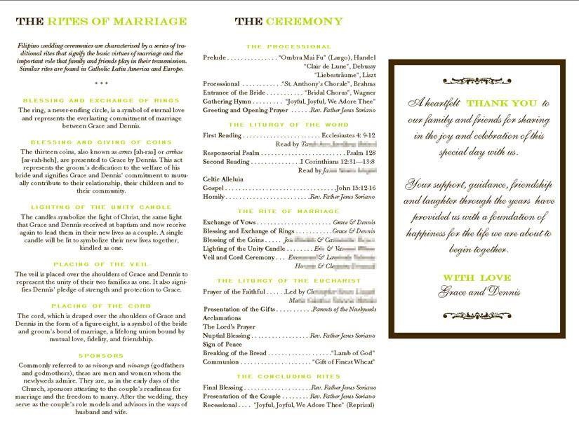 Filipino Mass Program Catholic Wedding Program Filipino Wedding Wedding Programs