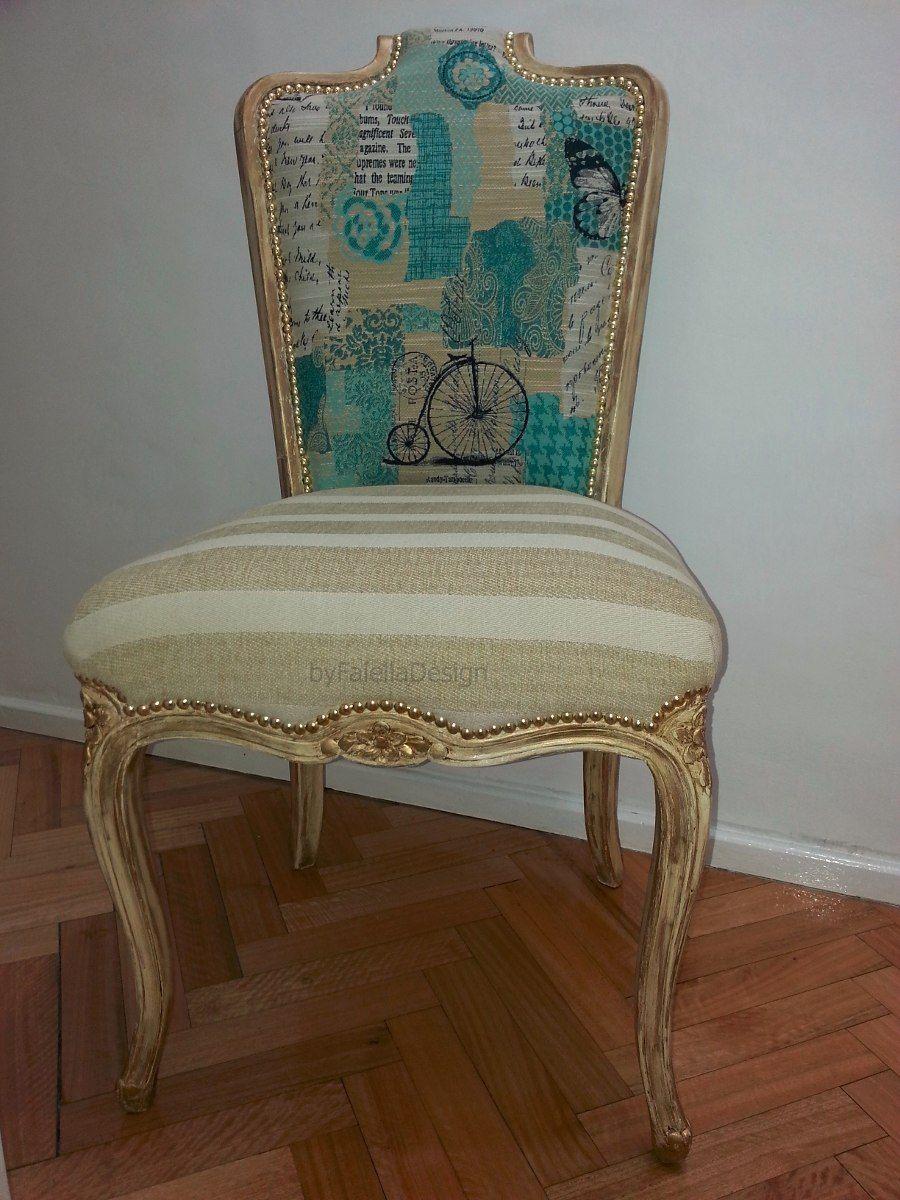 Silla luis xv dise o con estilo byfaielladesign en mercadolibre tapizado de - Sillas y sillones clasicos ...