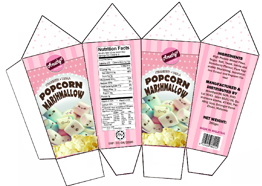 popcorn marshmallow packaging | Miniature Printable Food ...