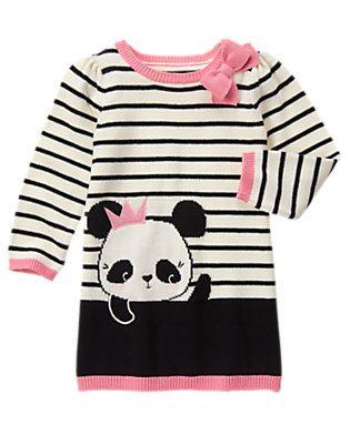 Toddler Girls Black Stripe Panda Sweater Dress by Gymboree
