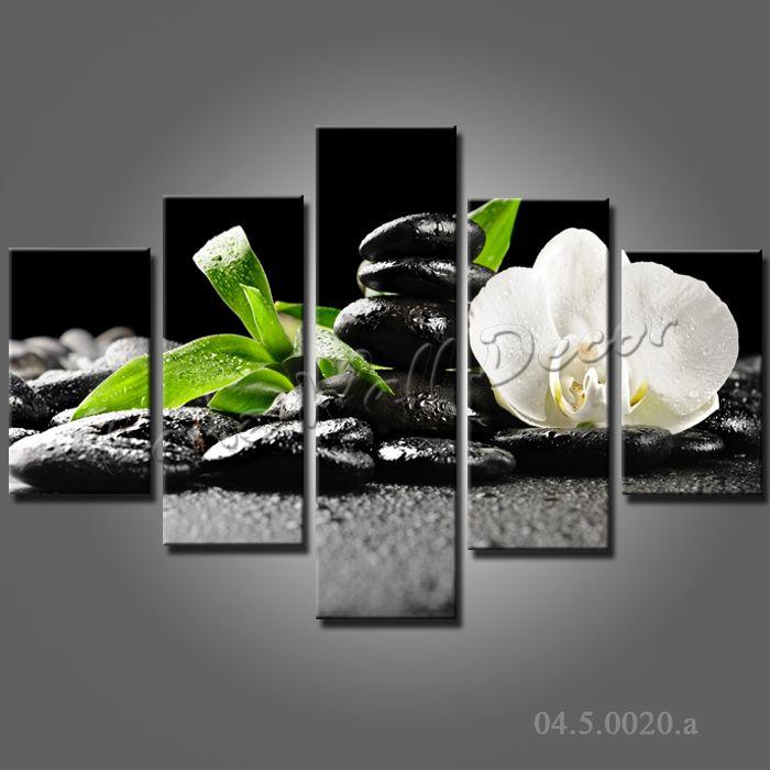 pas de cadre toile seulement 5 pices zen stone 100x70cm photos mur blanc en bambou fleur