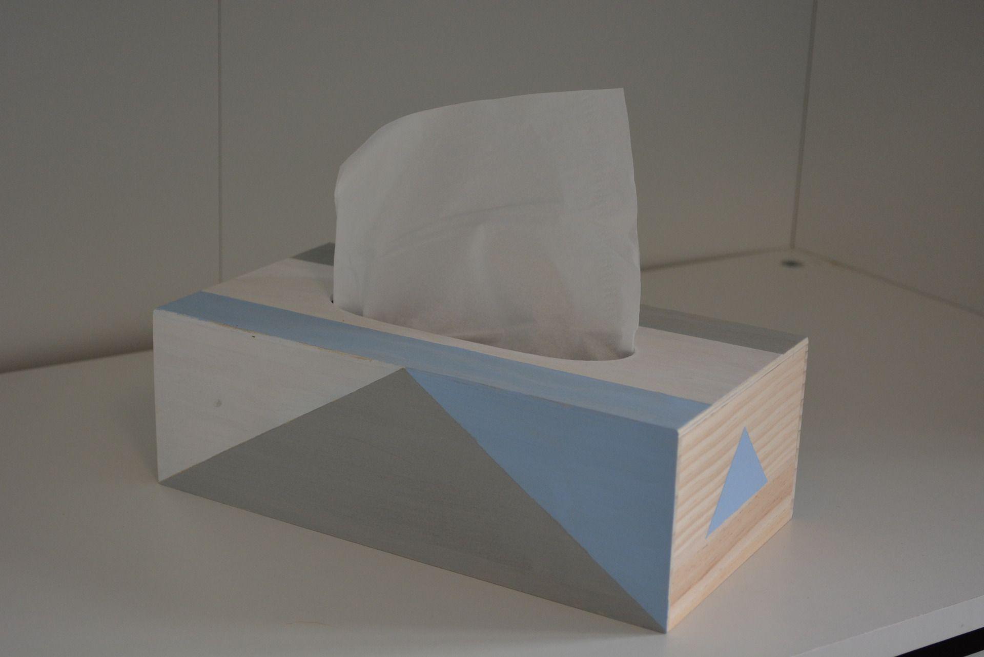 boite a mouchoir design bleu ciel blanc gris accessoires de maison par lae creation lae diy. Black Bedroom Furniture Sets. Home Design Ideas