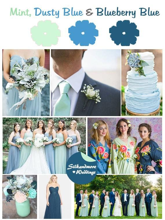 Mint, Dusty Blue and Blueberry Blue Wedding Color Bridesmaids Robes  Premium Soft Rayon  Wider Belt and Lapels  Wider Kimono sleeves