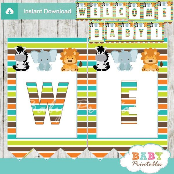 Jungle Theme Baby Shower Personalized Banner. #babyprintables