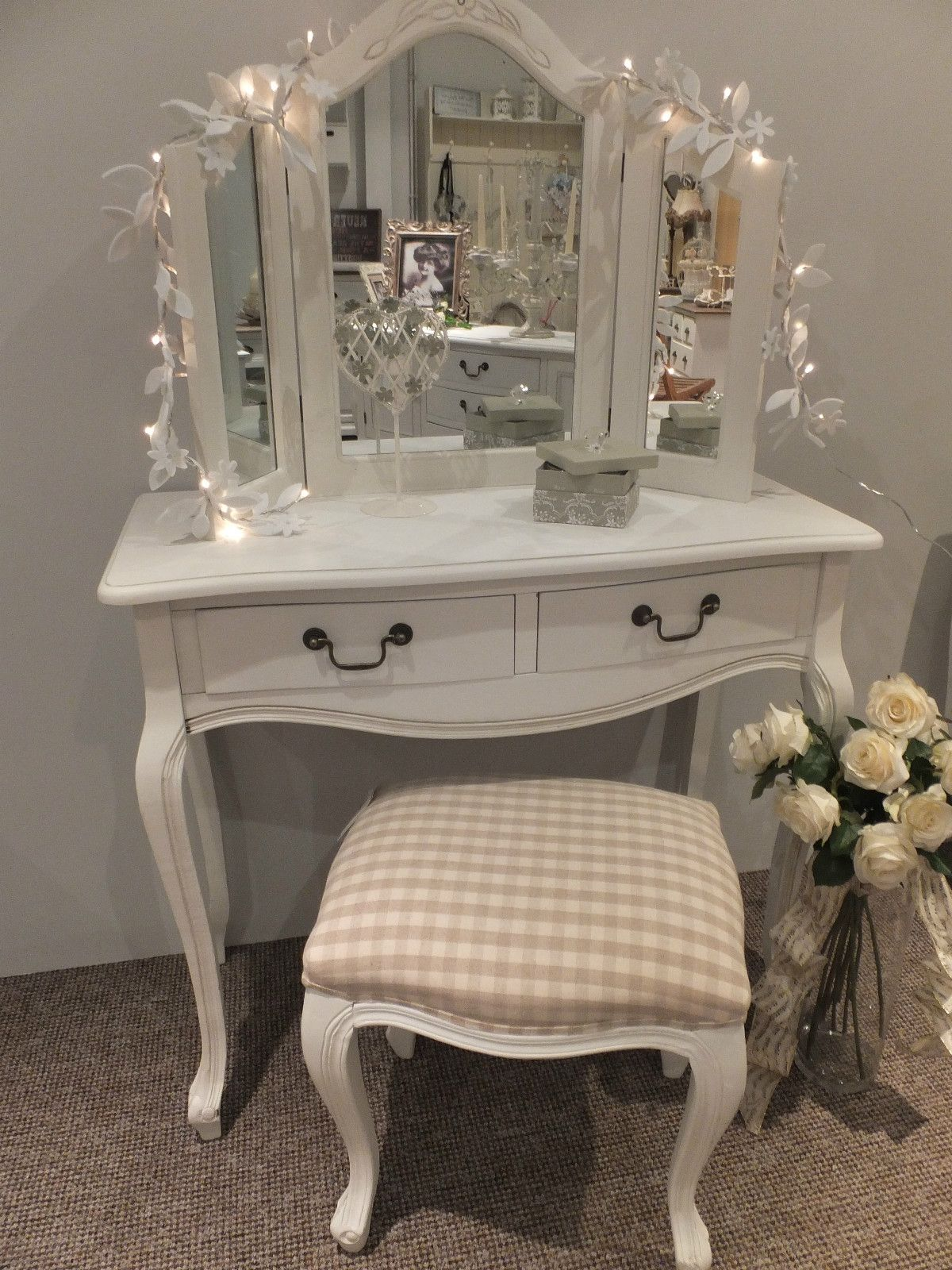 3 Way White Dressing Table Mirror