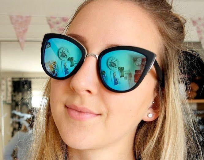 0135c591658 Oversized Cat Eye Mirrored Sunglasses Vintage Matte Black Cateye Glasses -  Clara