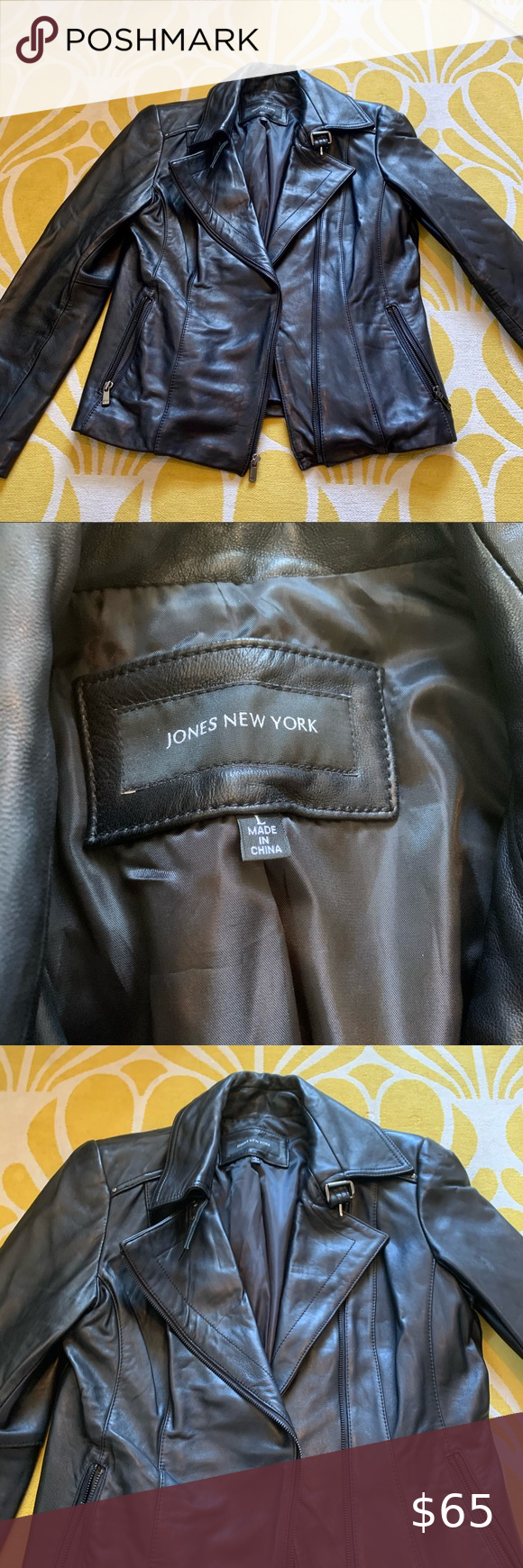 Jones Ny Genuine Black Leather Jacket Black Leather Jacket Leather Jacket Black Leather [ 1740 x 580 Pixel ]