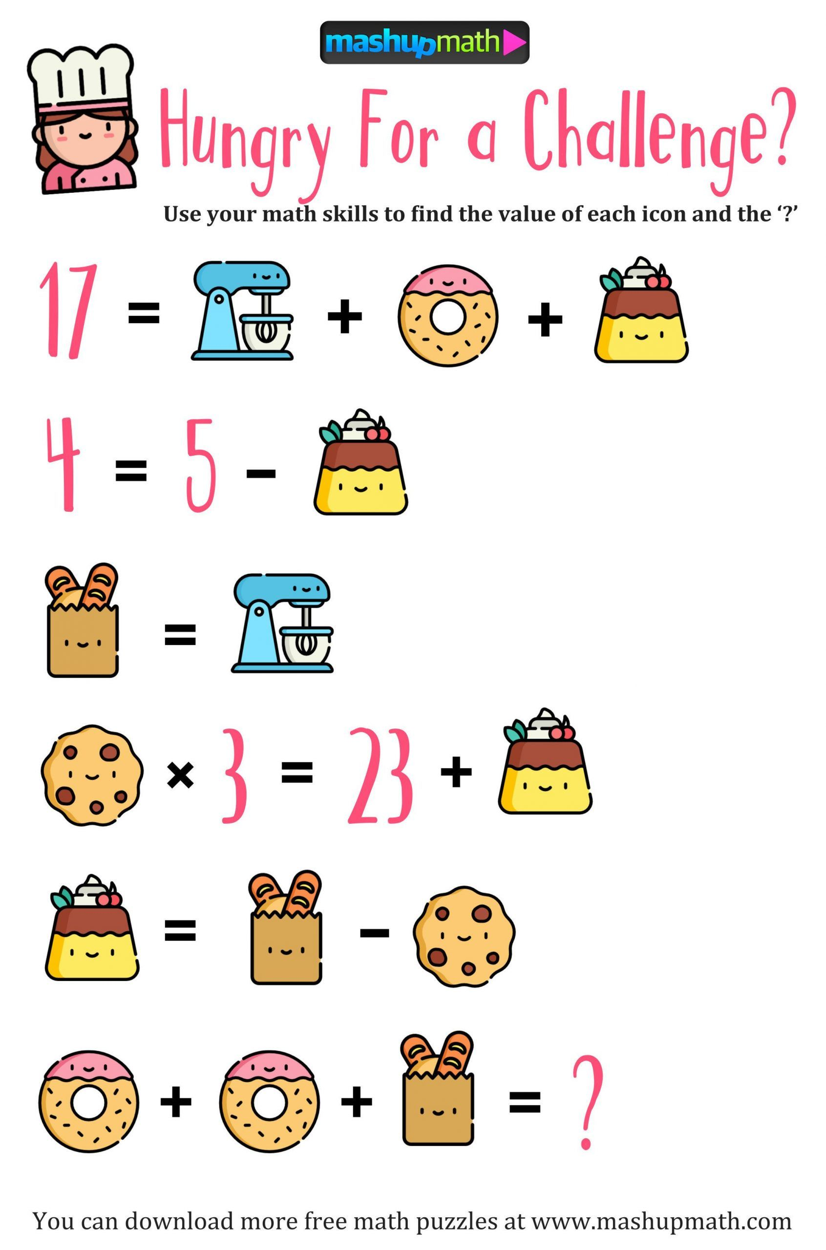 Challenge Math Worksheets 188 Best Algebra Picture Problems Images Logic Math Math Riddles Maths Puzzles