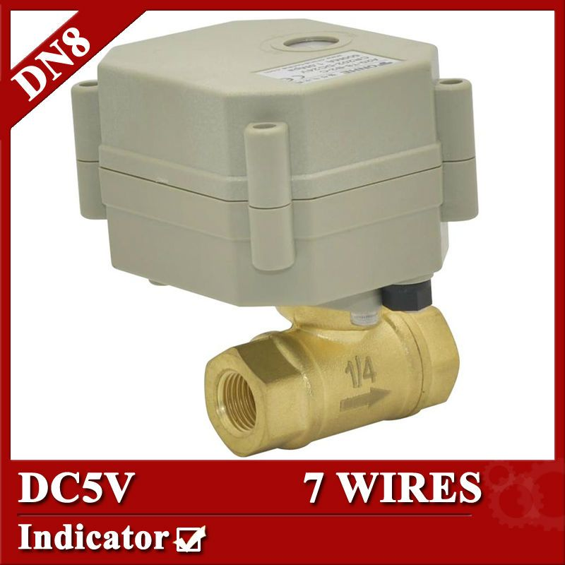 1 4 Brass Electric Ball Valve 7 Wires Dc5v Motorized Ball Valve1 0mpa Open Closed Time 5sec With Position Indicato Electric Motor Control Valves Water Heating