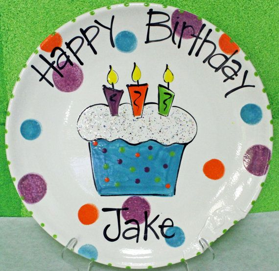Hand Painted Ceramic Happy Birthday Plate by 5thavenueflair  sc 1 st  Pinterest & Hand Painted Ceramic Happy Birthday Plate by 5thavenueflair ...