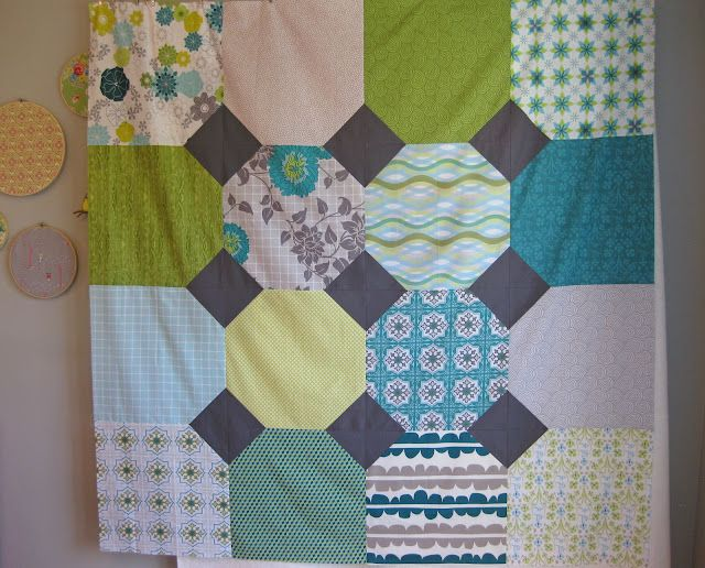 simple patchwork quilt but a great way to show off large scale fat quarters