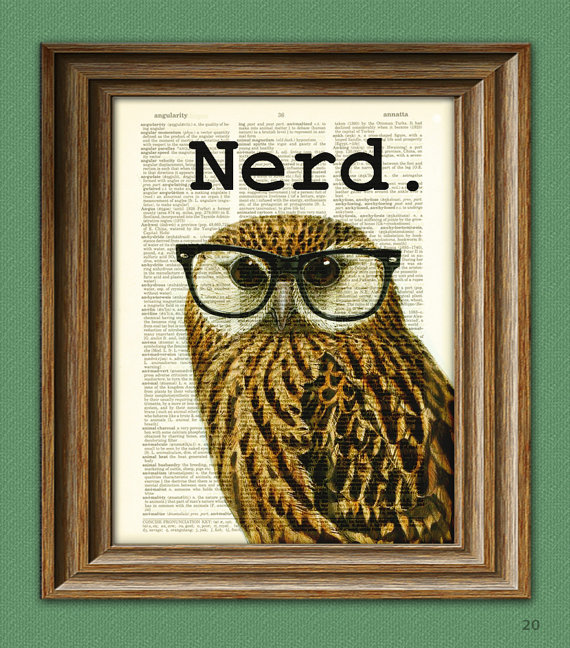The Nerd Bird Owl in black glasses illustration beautifully upcycled dictionary page book art print on Etsy, $6.99