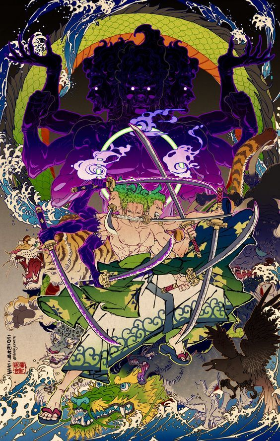 Zoro Going Wild In Wano Manga Anime One Piece One Piece Wallpaper Iphone One Piece Drawing