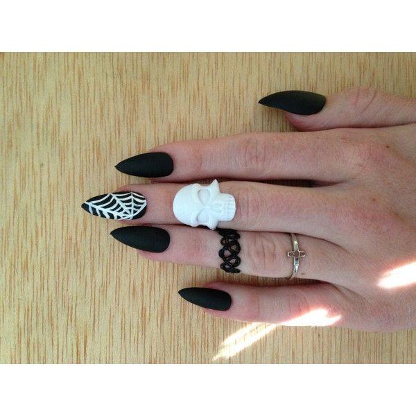 24 Matte Black Spiderweb nails, matt black stiletto nails, Matte ...