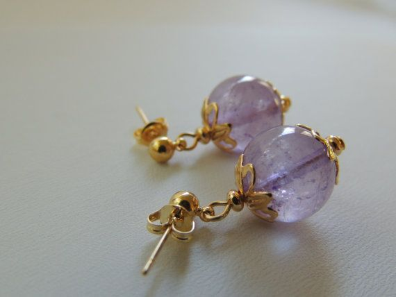 Amethyst Sphere Earrings with Natural by pnljewelrydesigns on Etsy, $10.00