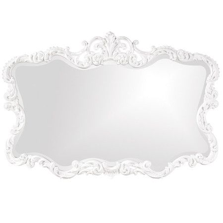 Beveled Wall Mirror With A Scrolling Glossy White Finished Frame Product Construction Material Re