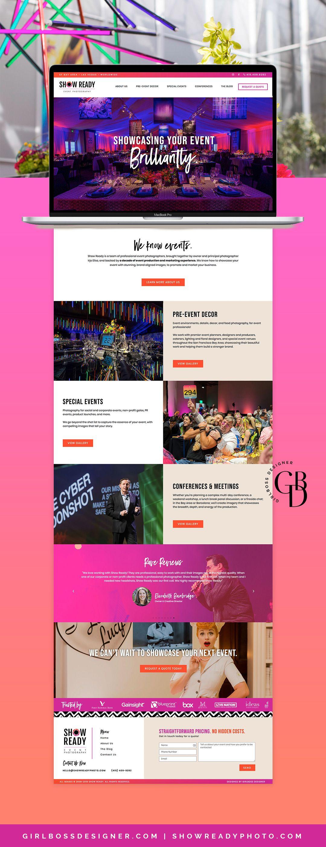 Modern Edgy Branding Update And Web Design San Francisco Based Event Photographer Show Ready By Girlbo Web Design Website Design Inspiration Event Website