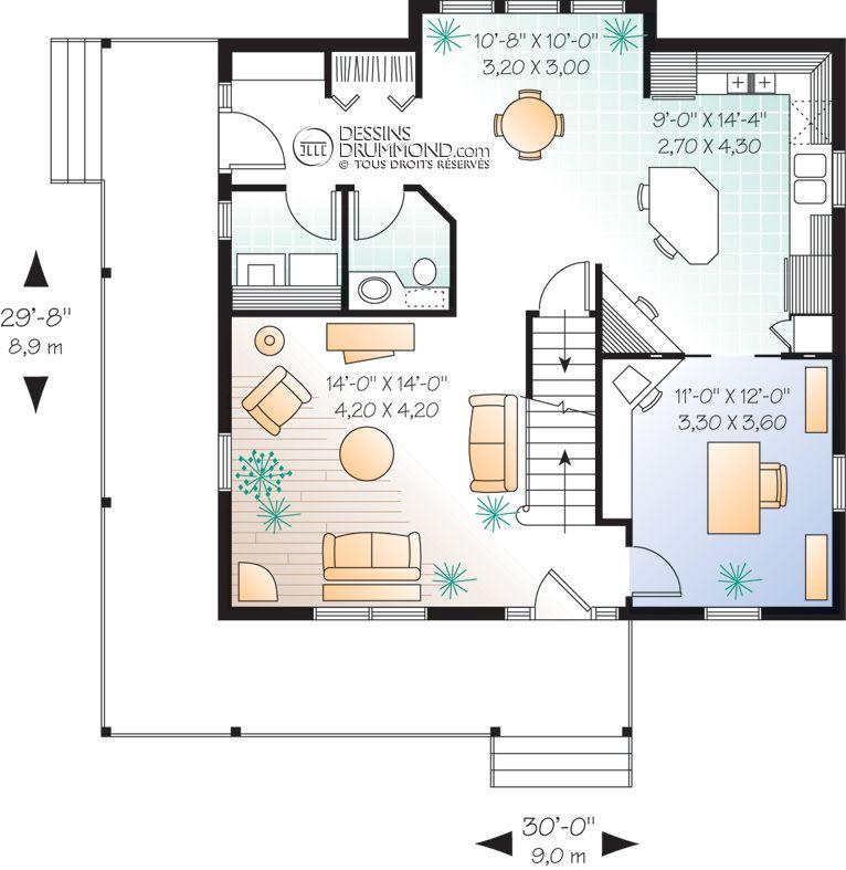 house_plan_maison_1_etage_et_demi_split_level_RDC_W2590 | Projets maisons | House plans ...