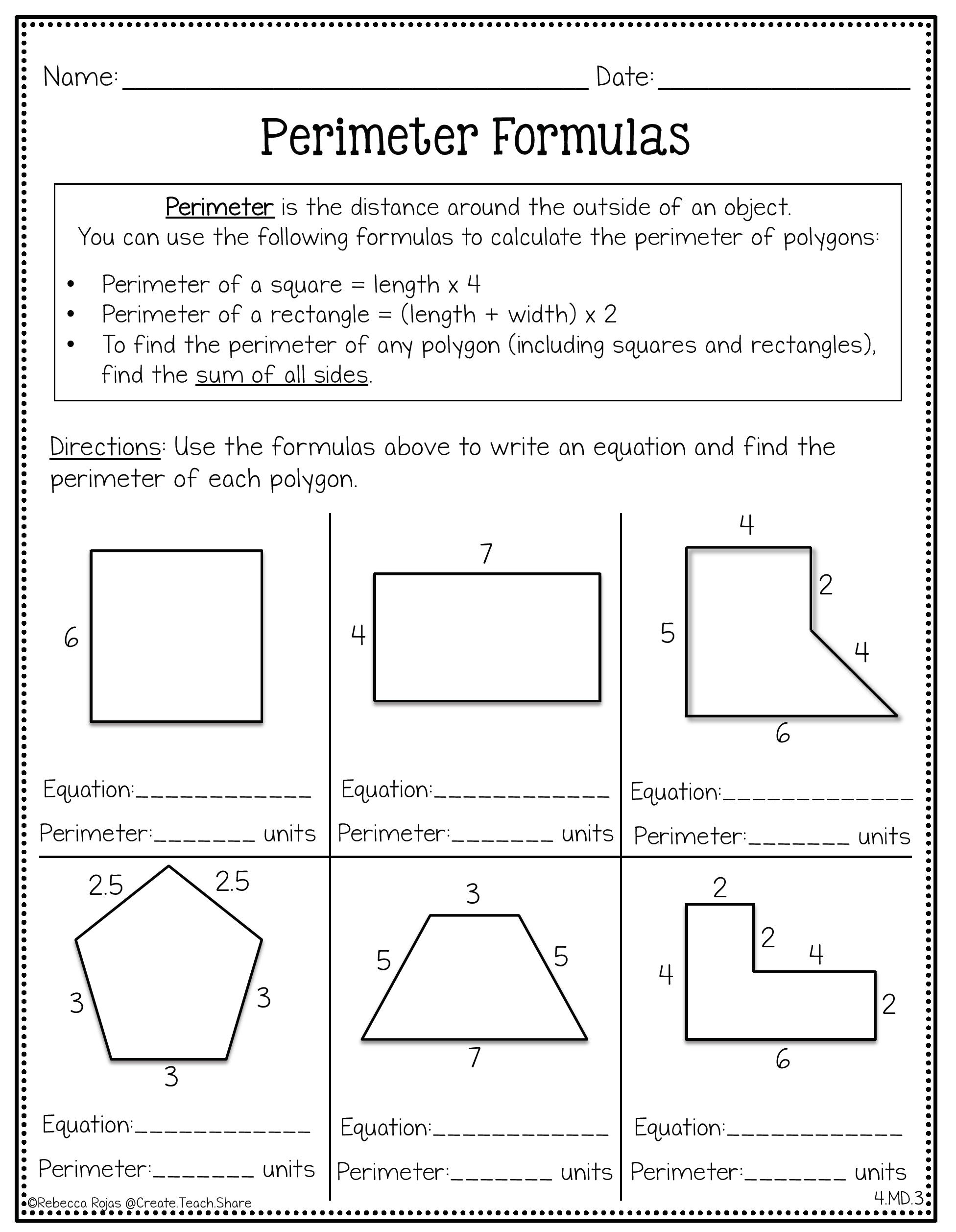 Measurement Amp Geometry Printables