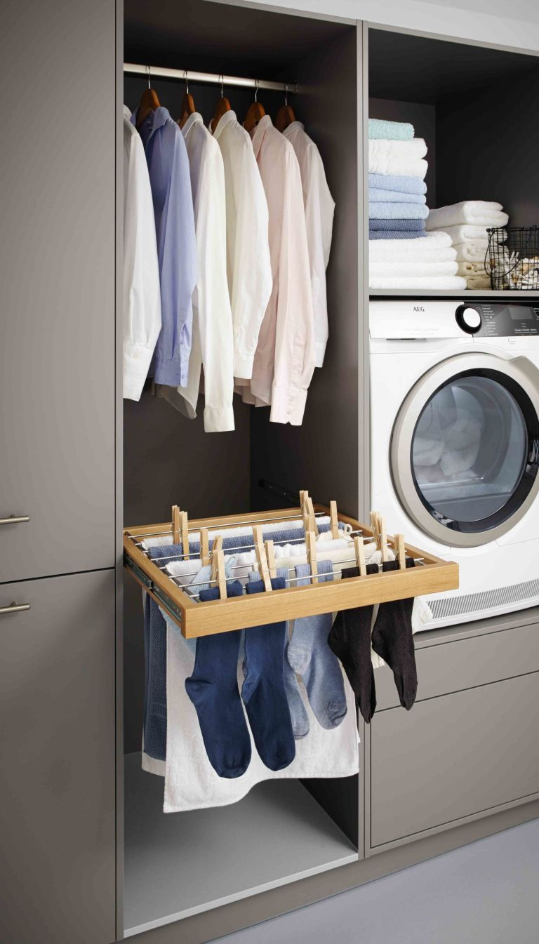 Utility Room Storage Ideas Built In Hanging Rails Prevent The Creasing Of Newly Washed Laundry Because No One Wants To Spend Their Time Ironing Too And