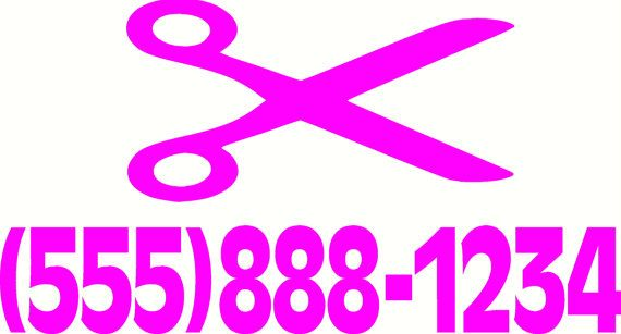Do you own a salon or cut hair on the side ? order a custom phone number scissors sticker for your car or shop window.