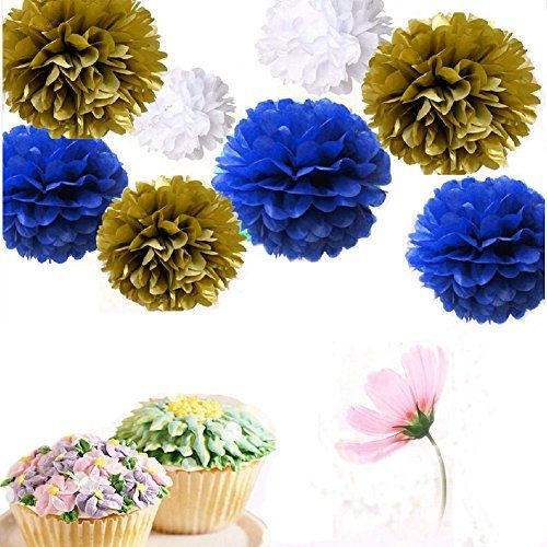 Somnr Set of 9 Mixed White Gold Royal Blue Tissue Paper Pompoms Flower Ball Wedding Engagement Prince Baby Shower Garland Party Decoration by Somnr *** Find out more about the great product at the image link.Note:It is affiliate link to Amazon.