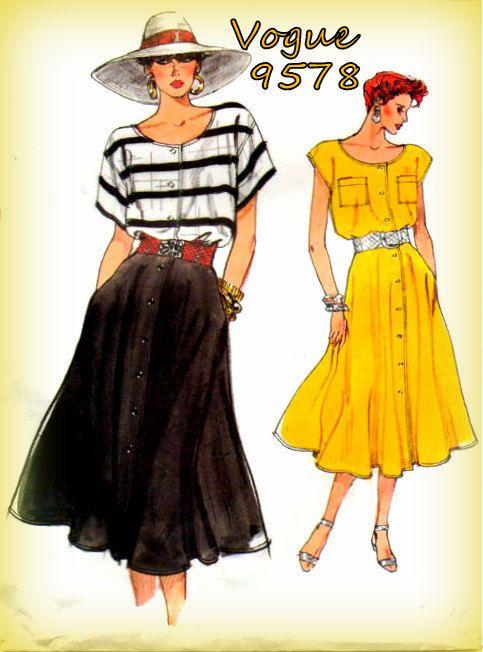 Vintage 1980s Sewing Pattern Vogue 9578 by mmmsvintagepatterns