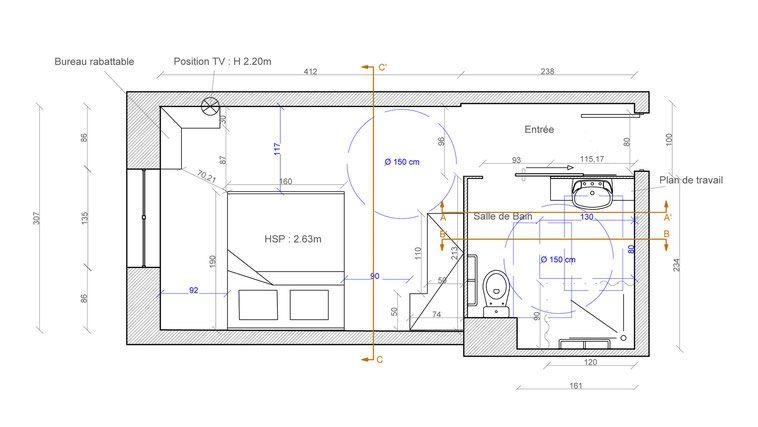plan chambre et salle de bain pmr plans pinterest plans salle de bains et salle. Black Bedroom Furniture Sets. Home Design Ideas