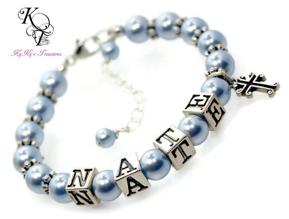 children diamond crystal diamonds swarovski pink clear christening new bracelet real pearls name baptism pc s cross baby