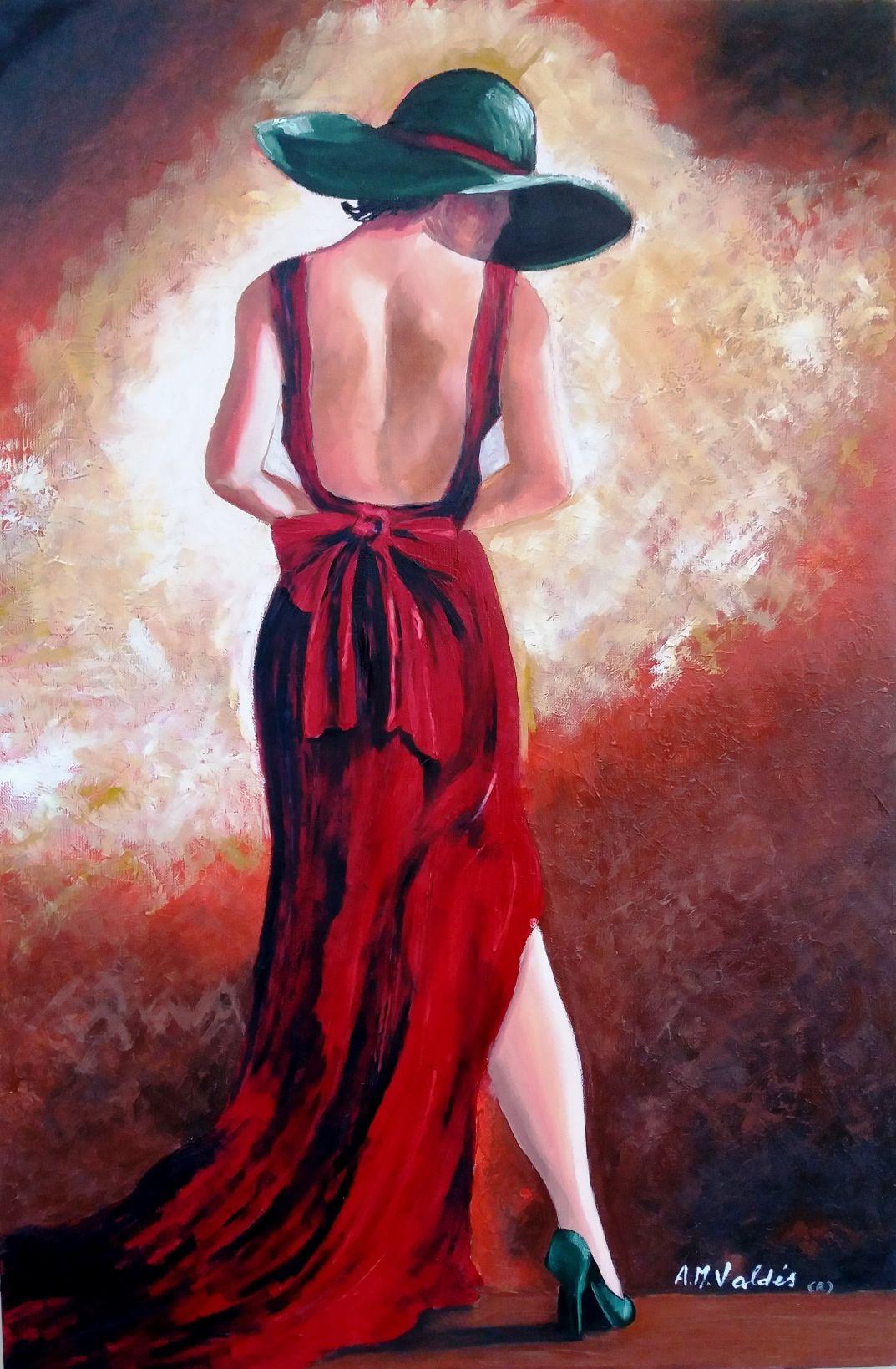 Una mujer vestida de rojo