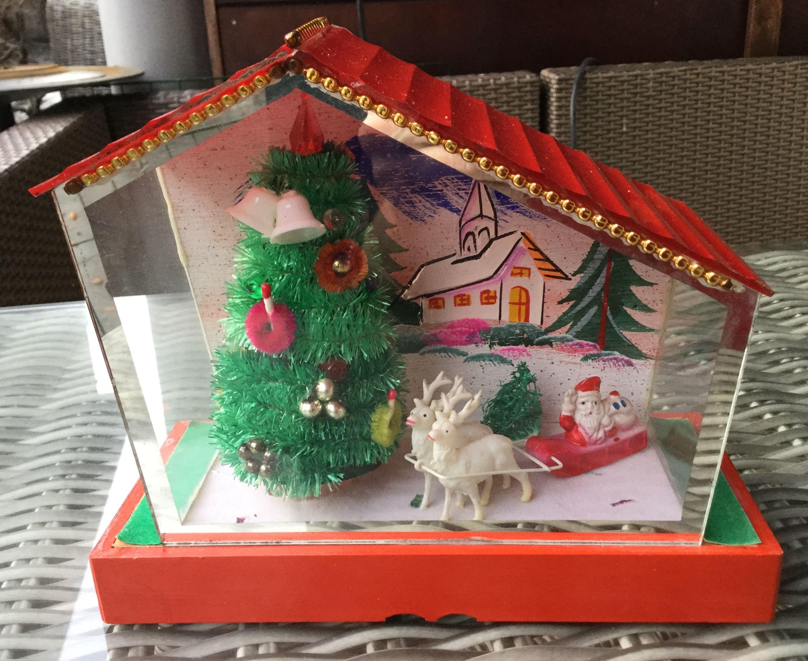 Vintage Christmas Diorama Electric Glass House Made In Japan Christmas Diorama Vintage Holiday Decor Vintage Christmas