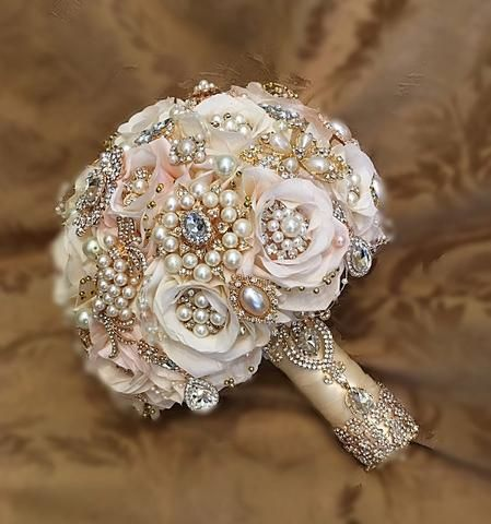 wedding bouquet pins vintage dusty brooch bouquet gold bouquet ivory 8476