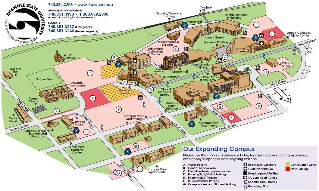 Shawnee State Univ Campus Map1 Jpg 1059 635 Campus Map Shawnee State University Campus