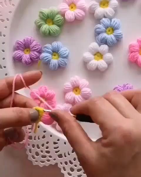 CROCHET BEAUTIFUL PASTEL COLOR PUFF FLOWERS #crochetflowers