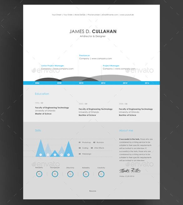 Piece Infographic Resume Template Psd  Infographic Resume