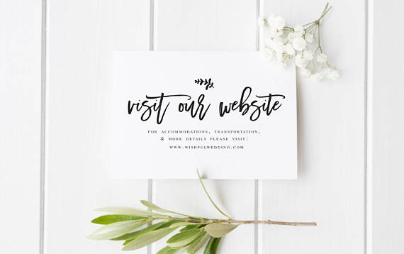 Wedding Website Card Insert Template Editable website card DIY