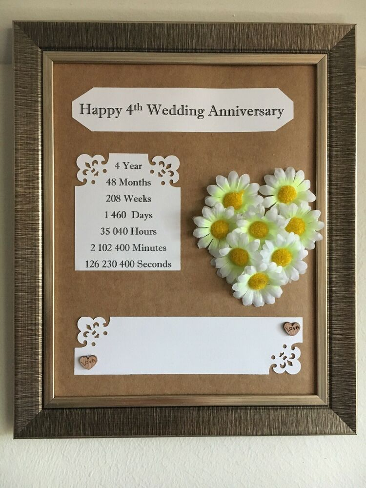 4th Wedding Flowers Anniversary Frame Rustic Gift Wooden