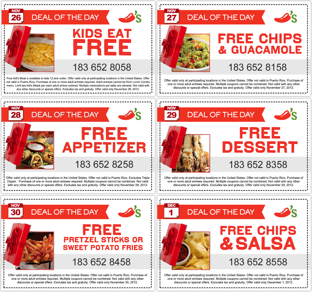 Different Freebie Daily At Chilis Restaurants Coupon Via The Coupons App