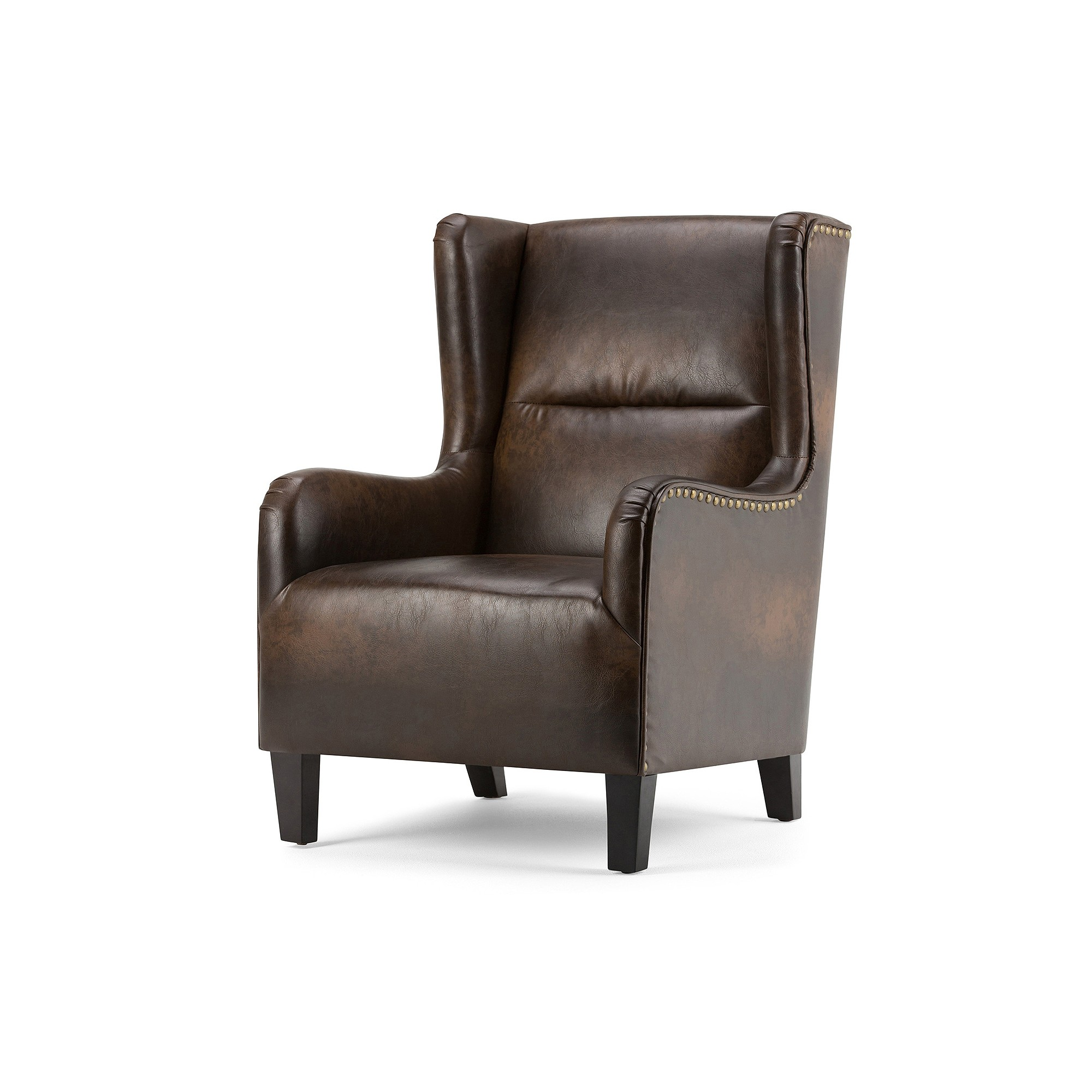 Super Manford Wingback Chair Distressed Brown Bonded Leather Caraccident5 Cool Chair Designs And Ideas Caraccident5Info