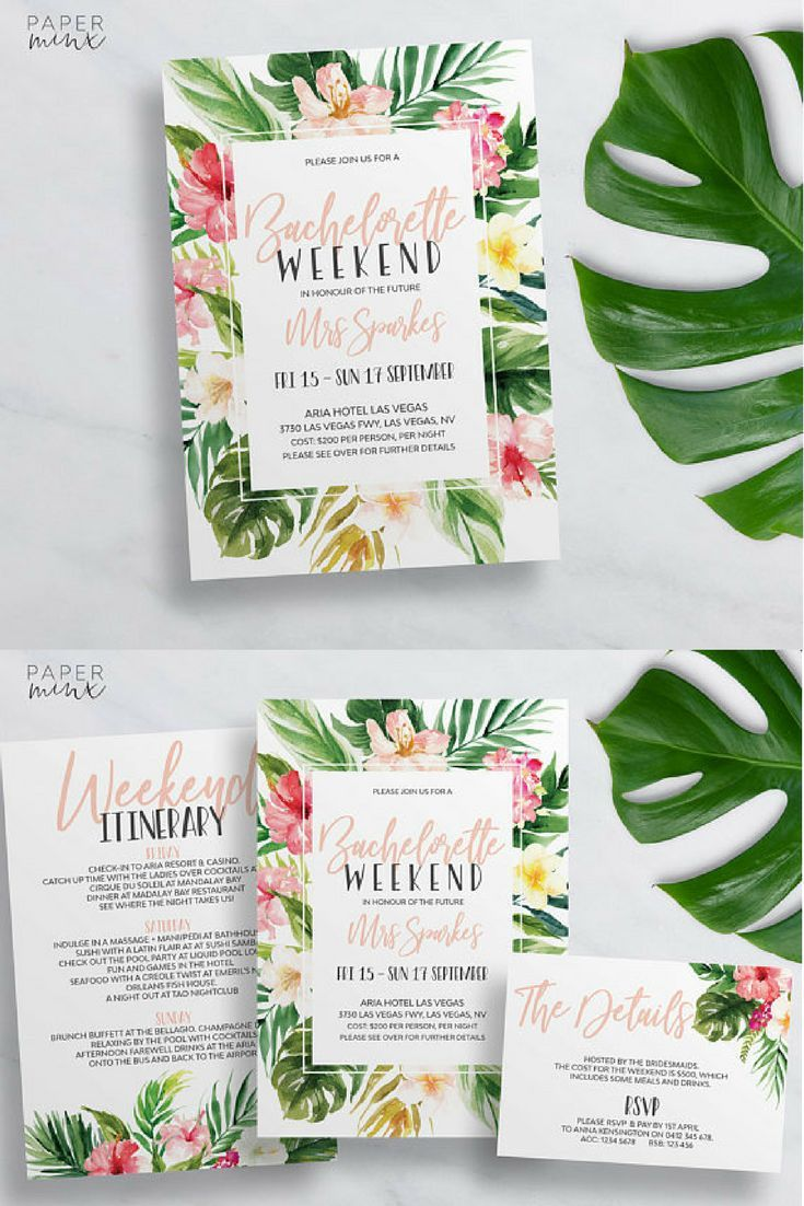 Printable Tropical Bachelorette Weekend Invitation Bachelorette - Party invitation template: bachelorette party itinerary template