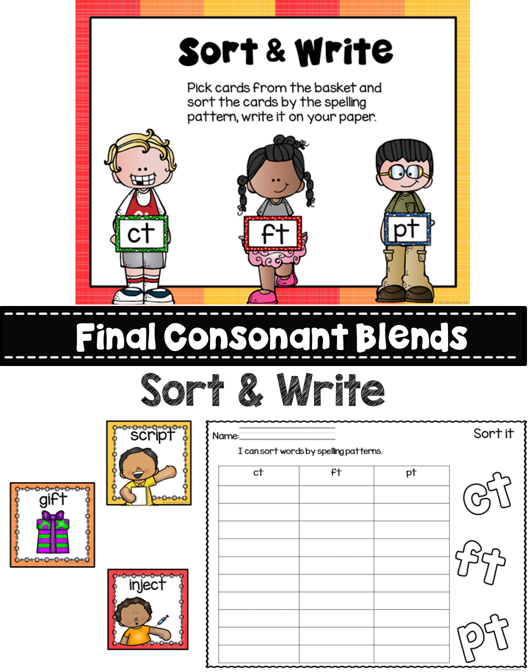 Final Consonant T Blends Sort And Write Activity